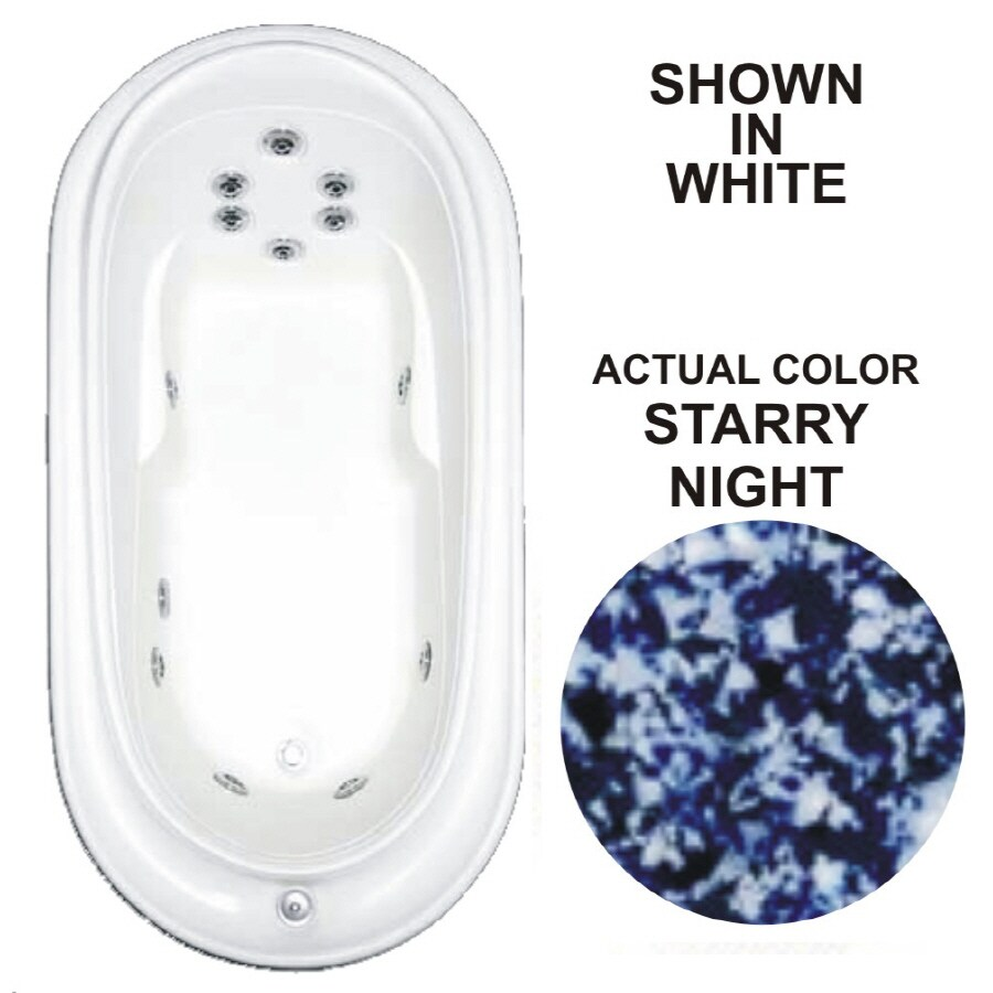 Watertech Whirlpool Baths Designer Starry Night Acrylic Oval Whirlpool Tub (Common: 38-in x 73-in; Actual: 21.75-in x 36.75-in x 72-in)