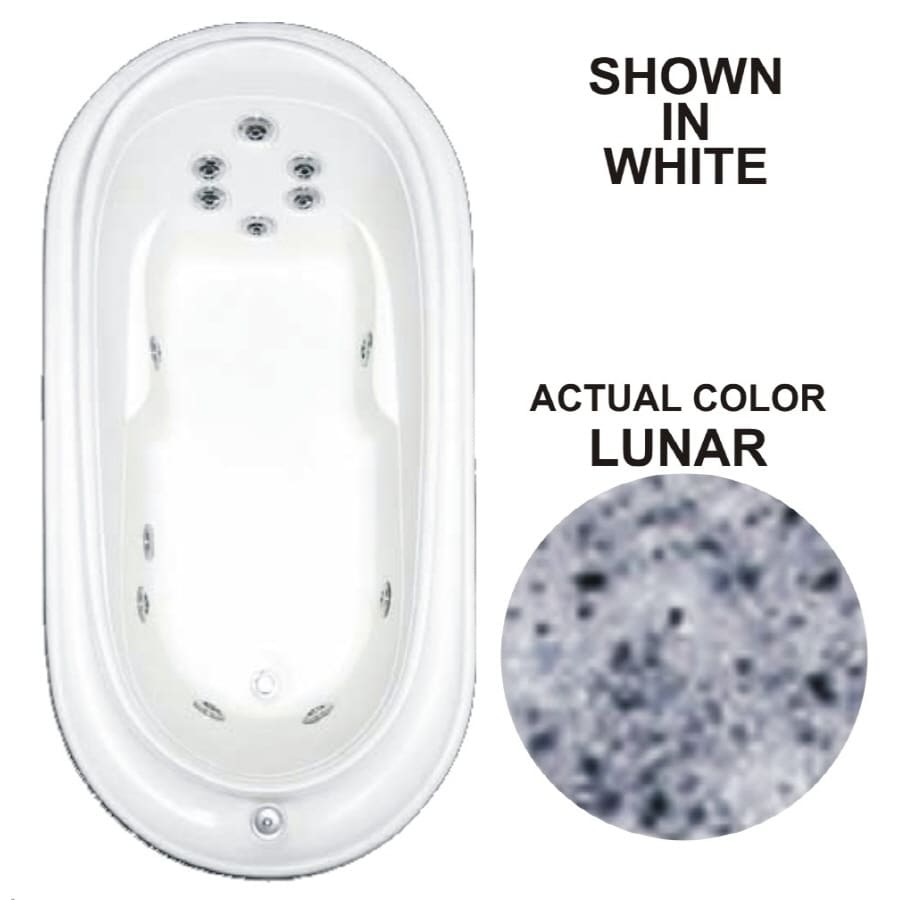 Watertech Whirlpool Baths Designer 72-in Lunar Acrylic Drop-In Whirlpool Tub with Reversible Drain