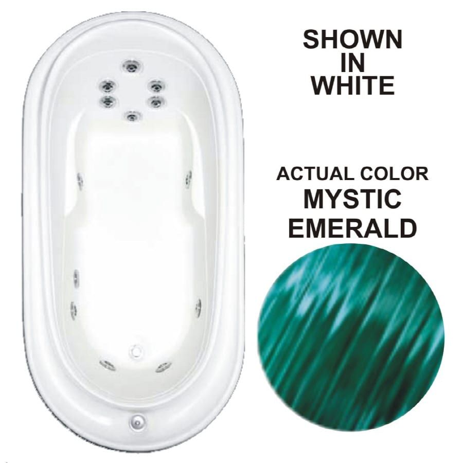 Watertech Whirlpool Baths Designer Mystic Emerald Acrylic Oval Whirlpool Tub (Common: 38-in x 73-in; Actual: 21.75-in x 36.75-in x 72-in)