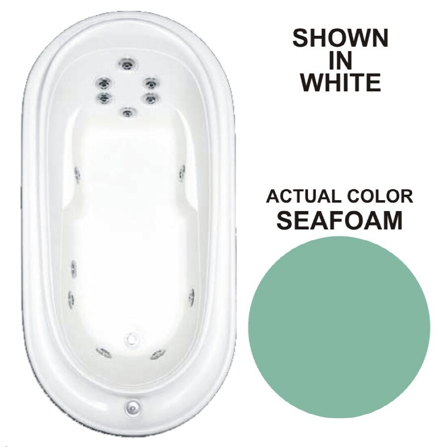 Watertech Whirlpool Baths Designer Seafoam Acrylic Oval Whirlpool Tub (Common: 38-in x 73-in; Actual: 21.75-in x 36.75-in x 72-in)