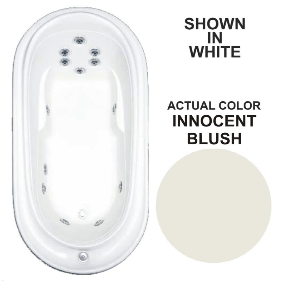 Watertech Whirlpool Baths Designer Innocent Blush Acrylic Oval Whirlpool Tub (Common: 38-in x 73-in; Actual: 21.75-in x 36.75-in x 72-in)