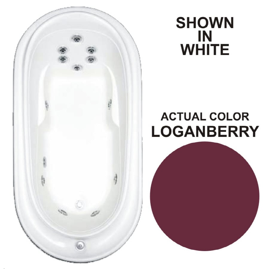 Watertech Whirlpool Baths Designer Loganberry Acrylic Oval Whirlpool Tub (Common: 38-in x 73-in; Actual: 21.75-in x 36.75-in x 72-in)