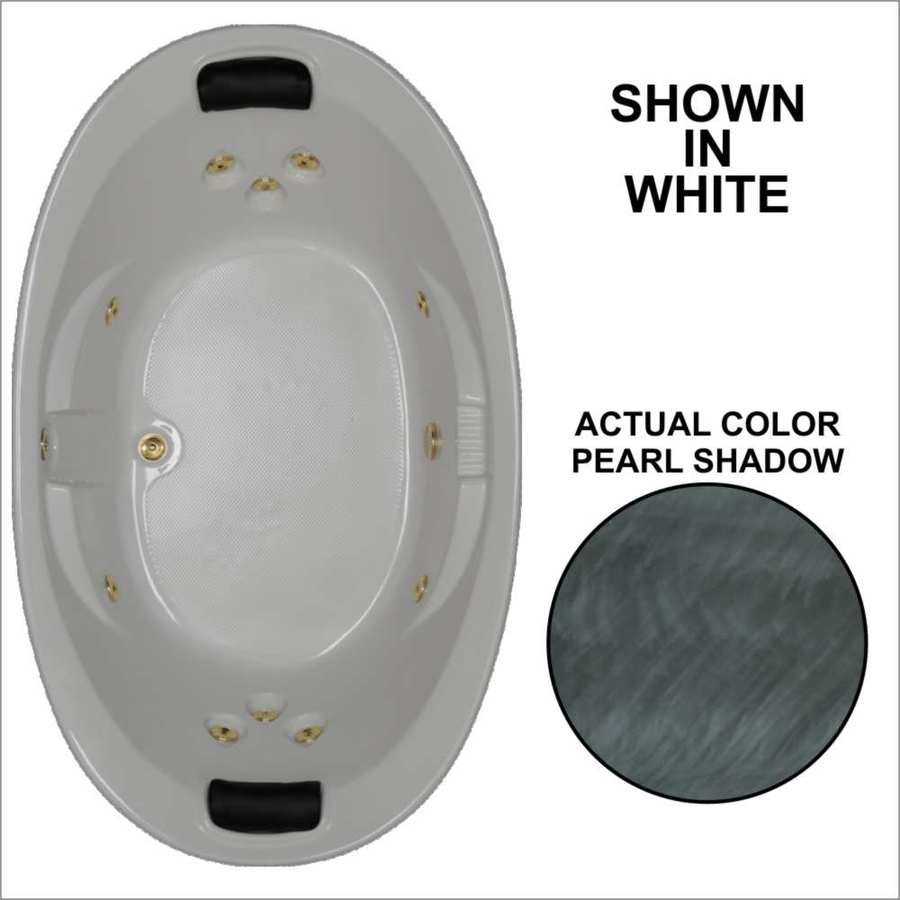 Watertech Whirlpool Baths Designer 72.75-in Pearl Shadow Acrylic Drop-In Whirlpool Tub with Reversible Drain