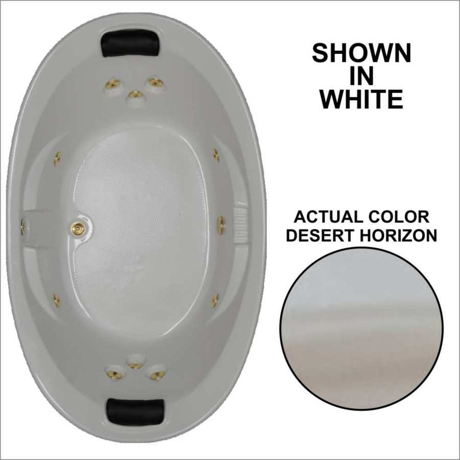 Watertech Whirlpool Baths Designer 72.75-in Desert Horizon Acrylic Drop-In Whirlpool Tub with Reversible Drain
