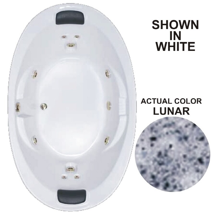 Watertech Whirlpool Baths Designer 72.75-in Lunar Acrylic Drop-In Whirlpool Tub with Reversible Drain
