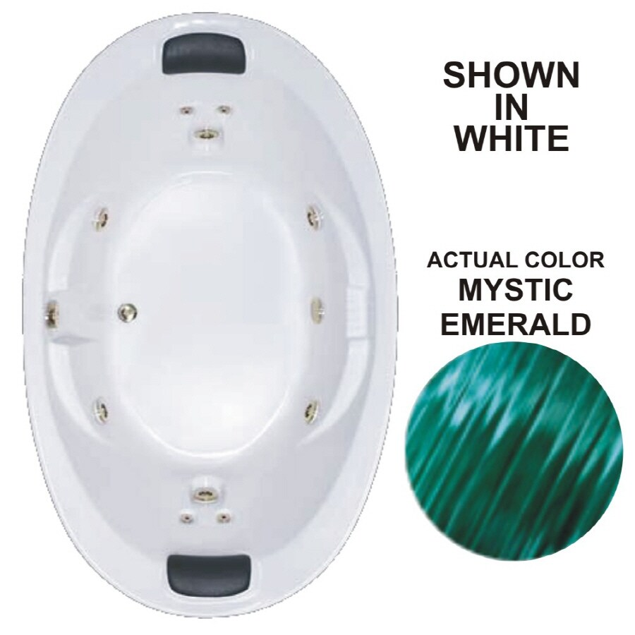 Watertech Whirlpool Baths Designer 72.75-in Mystic Emerald Acrylic Drop-In Whirlpool Tub with Reversible Drain