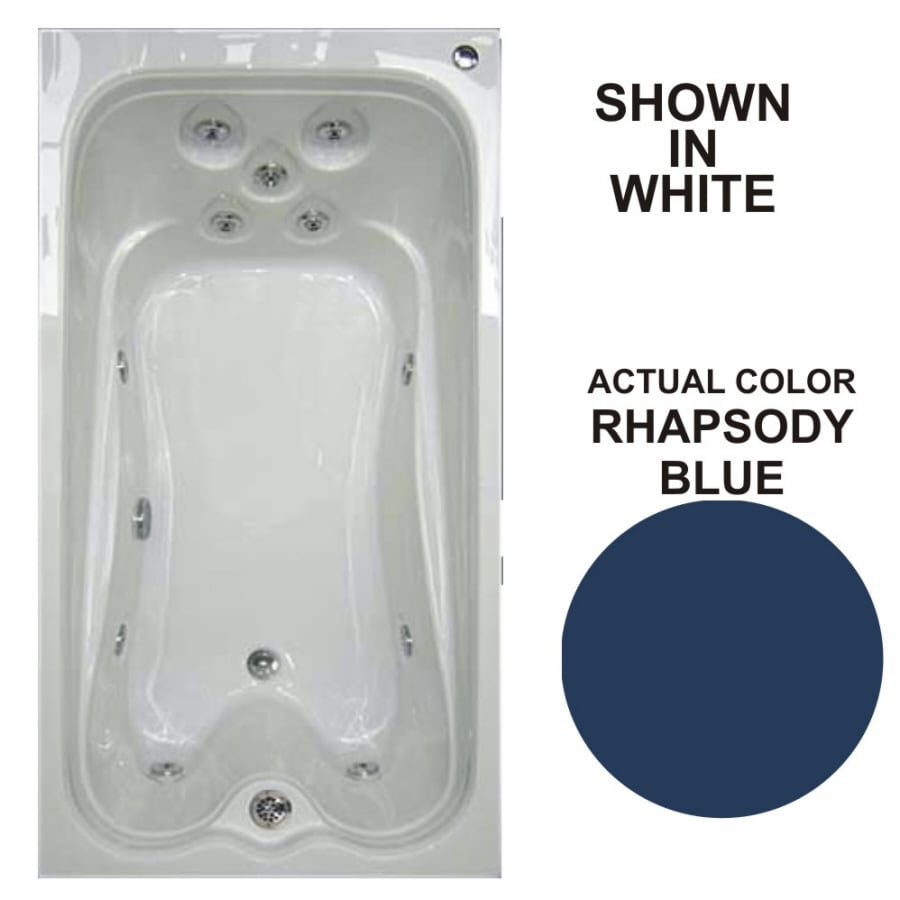 Watertech Whirlpool Baths Warertech Rhapsody Blue Acrylic Rectangular Whirlpool Tub (Common: 36-in x 72-in; Actual: 21.5-in x 36-in x 72-in)