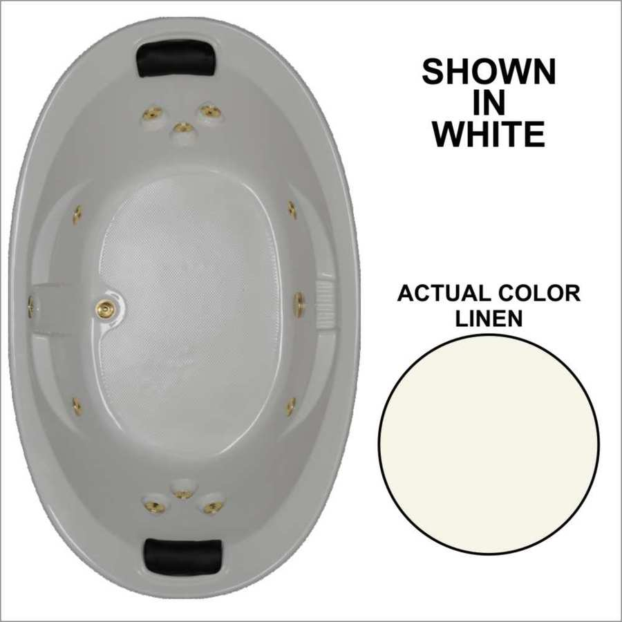 Watertech Whirlpool Baths Designer 2-Person Linen Acrylic Oval Whirlpool Tub (Common: 44-in x 73-in; Actual: 22-in x 44.75-in x 72.75-in)