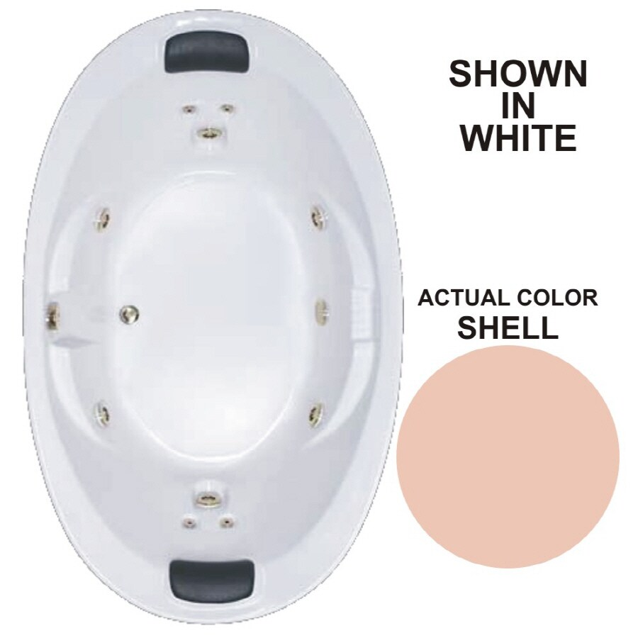 Watertech Whirlpool Baths Designer 72.75-in Shell Acrylic Drop-In Whirlpool Tub with Reversible Drain