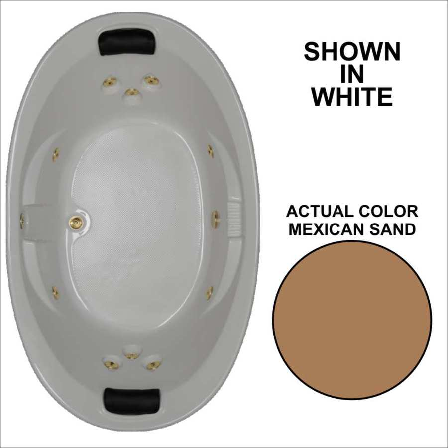 Watertech Whirlpool Baths Designer 2-Person Mexican Sand Acrylic Oval Whirlpool Tub (Common: 44-in x 73-in; Actual: 22-in x 44.75-in x 72.75-in)