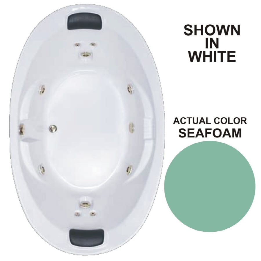 Watertech Whirlpool Baths Designer 2-Person Seafoam Acrylic Oval Whirlpool Tub (Common: 44-in x 73-in; Actual: 22-in x 44.75-in x 72.75-in)