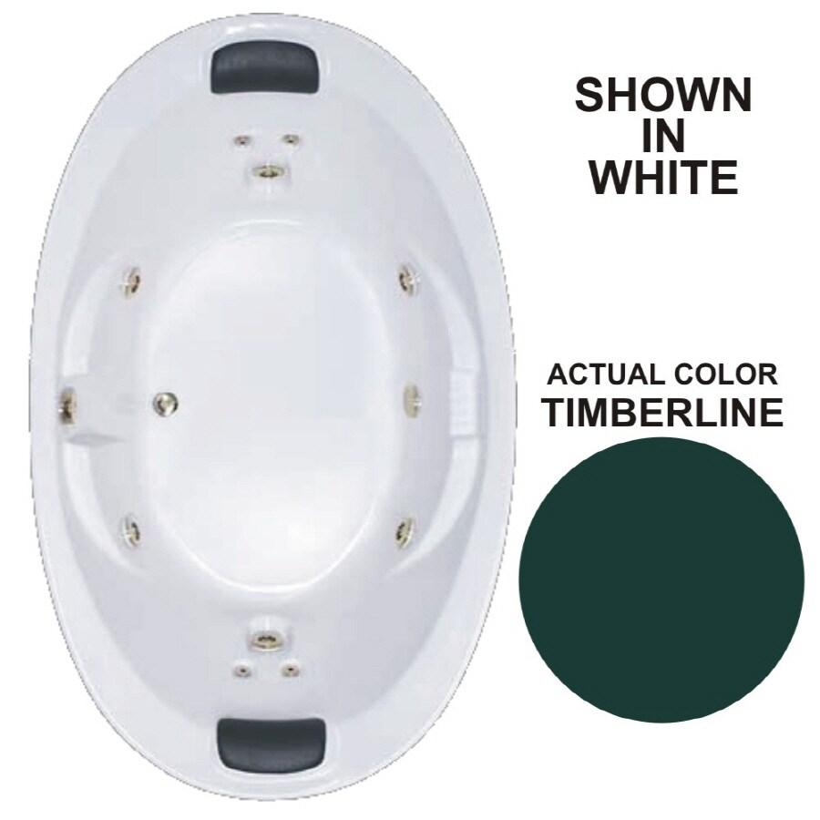Watertech Whirlpool Baths Designer 72.75-in Timberline Acrylic Drop-In Whirlpool Tub with Reversible Drain