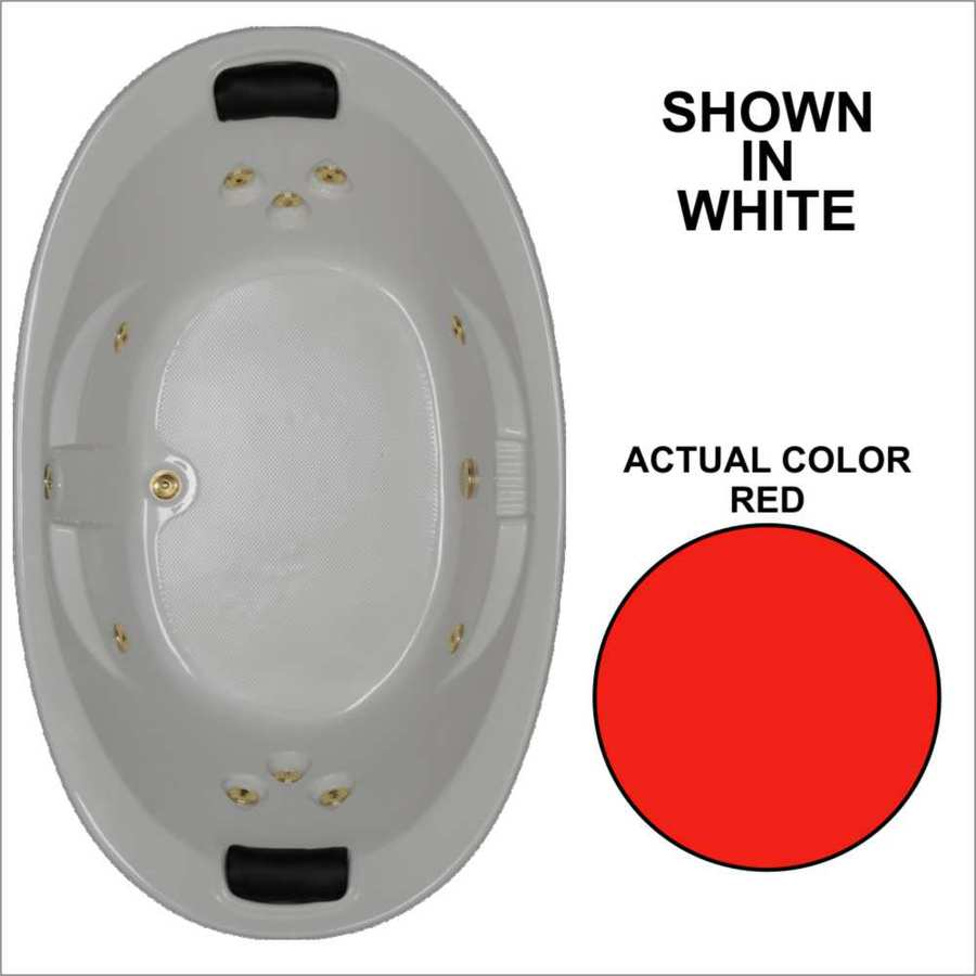 Watertech Whirlpool Baths Designer 72.75-in Red Acrylic Drop-In Whirlpool Tub with Reversible Drain