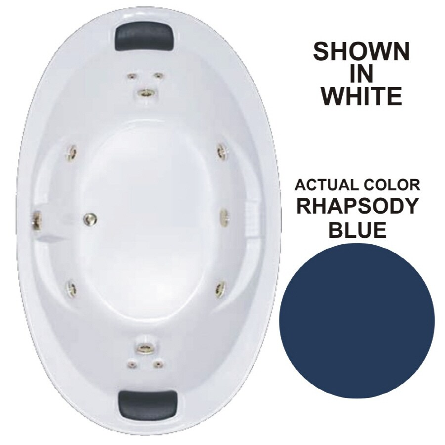 Watertech Whirlpool Baths Designer 72.75-in Rhapsody Blue Acrylic Drop-In Whirlpool Tub with Reversible Drain