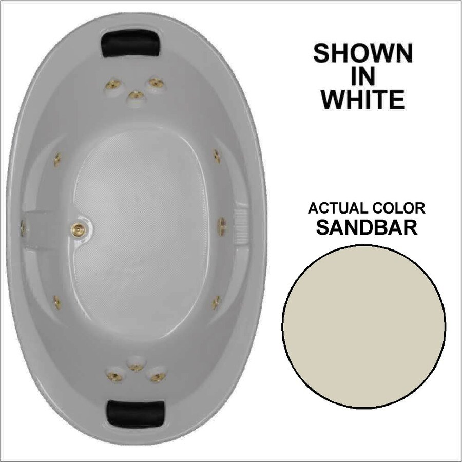 Watertech Whirlpool Baths Designer 2-Person Sandbar Acrylic Oval Whirlpool Tub (Common: 44-in x 73-in; Actual: 22-in x 44.75-in x 72.75-in)