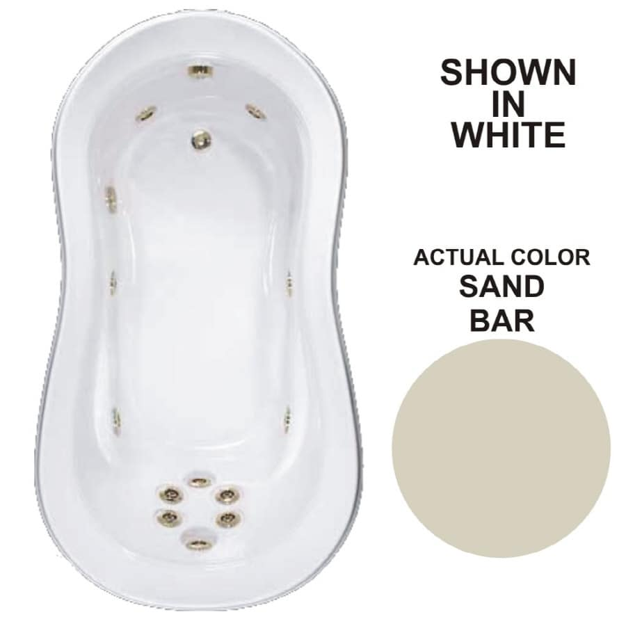 Watertech Whirlpool Baths Designer 73.25-in Sandbar Acrylic Drop-In Whirlpool Tub with Reversible Drain