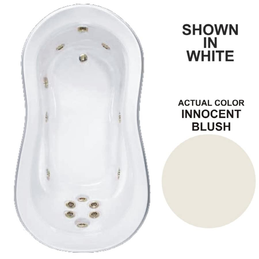 Watertech Whirlpool Baths Designer 73.25-in Innocent Blush Acrylic Drop-In Whirlpool Tub with Reversible Drain