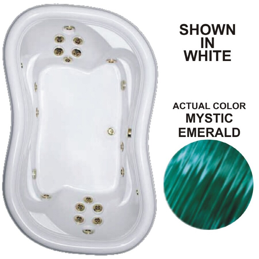 Watertech Whirlpool Baths Designer 2-Person Mystic Emerald Acrylic Hourglass In Rectangle Whirlpool Tub (Common: 52-in x 78-in; Actual: 25.375-in x 52-in x 78-in)