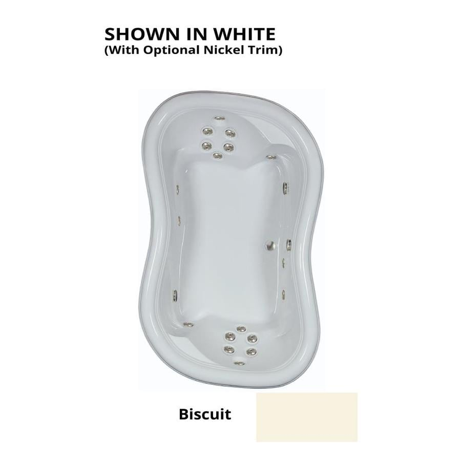 Watertech Whirlpool Baths Designer 78-in Biscuit Acrylic Drop-In Whirlpool Tub with Reversible Drain