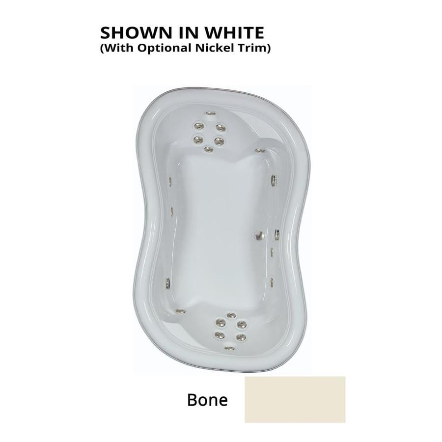 Watertech Whirlpool Baths Designer 2-Person Bone Acrylic Hourglass In Rectangle Whirlpool Tub (Common: 52-in x 78-in; Actual: 25.375-in x 52-in x 78-in)