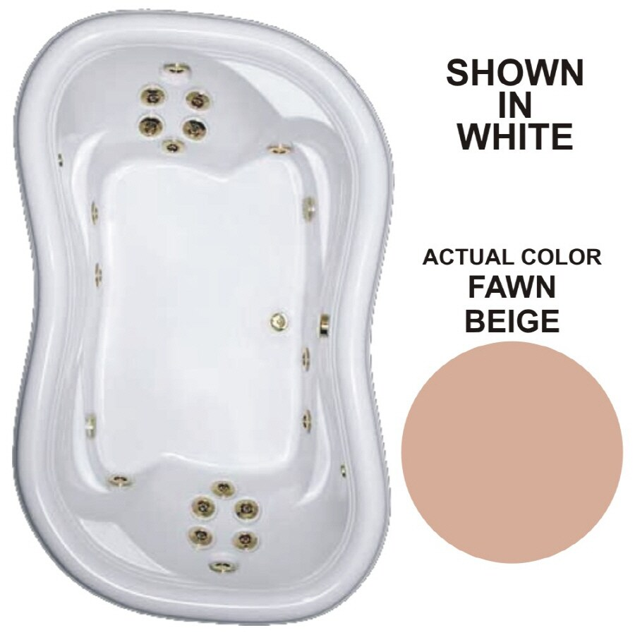 Watertech Whirlpool Baths Designer 78-in Fawn Beige Acrylic Drop-In Whirlpool Tub with Reversible Drain