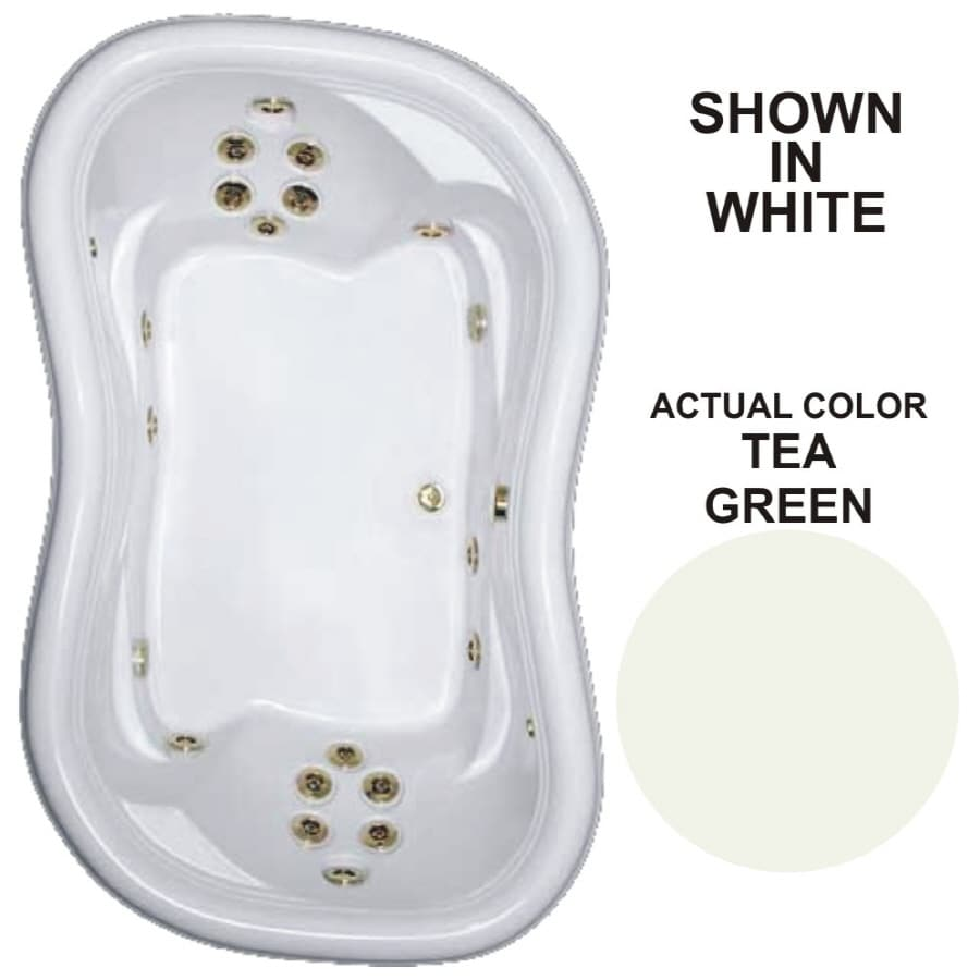 Watertech Whirlpool Baths Designer 2-Person Tea Green Acrylic Hourglass In Rectangle Whirlpool Tub (Common: 52-in x 78-in; Actual: 25.375-in x 52-in x 78-in)