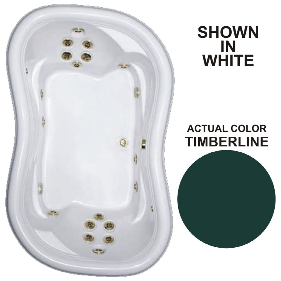 Watertech Whirlpool Baths Designer 78-in Timberline Acrylic Drop-In Whirlpool Tub with Reversible Drain
