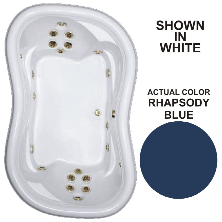 Watertech Whirlpool Baths Designer 78-in Rhapsody Blue Acrylic Drop-In Whirlpool Tub with Reversible Drain