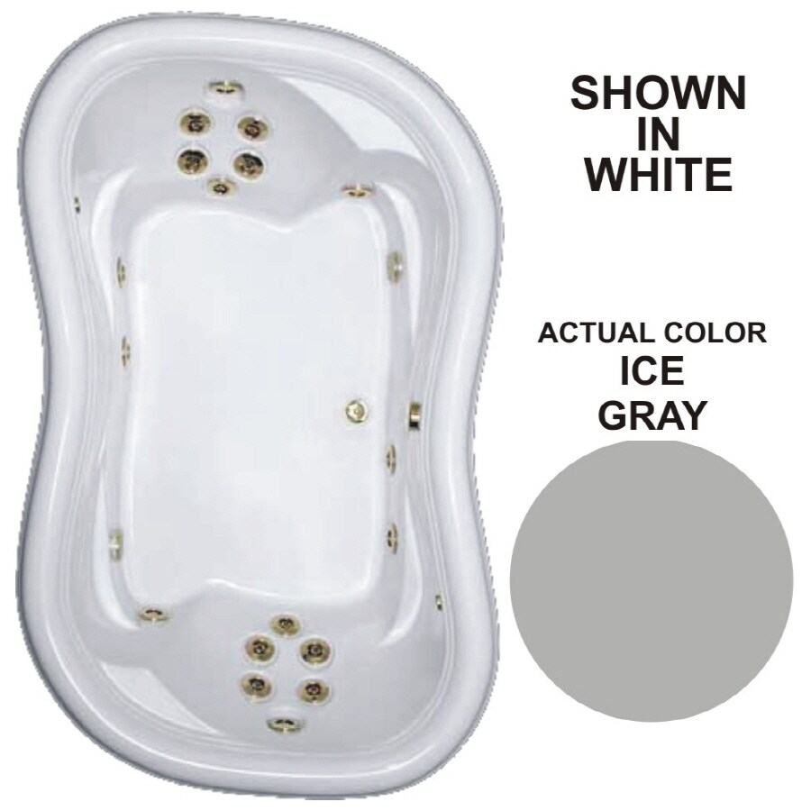 Watertech Whirlpool Baths Designer 78-in Ice Gray Acrylic Drop-In Whirlpool Tub with Reversible Drain
