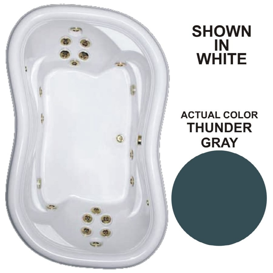 Watertech Whirlpool Baths Designer 2-Person Thunder Grey Acrylic Hourglass In Rectangle Whirlpool Tub (Common: 52-in x 78-in; Actual: 25.375-in x 52-in x 78-in)