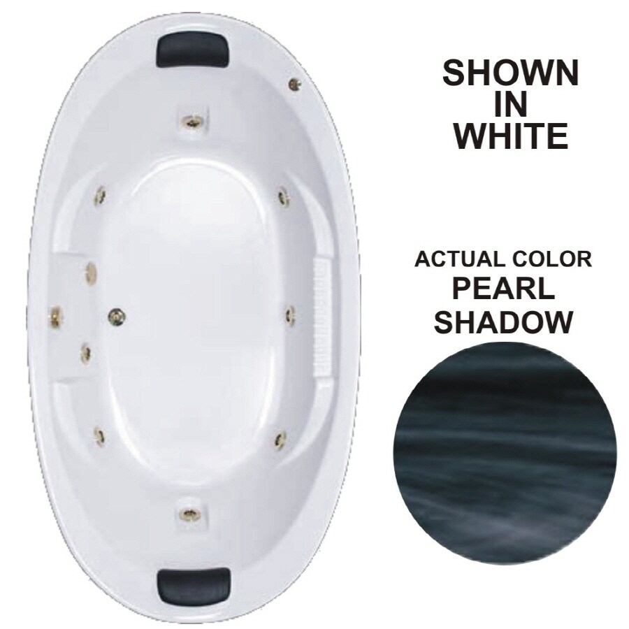 Watertech Whirlpool Baths Designer 83.625-in Pearl Shadow Acrylic Drop-In Whirlpool Tub with Reversible Drain