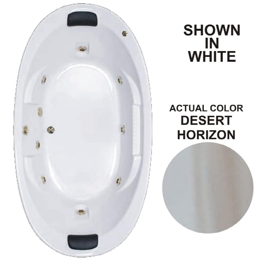 Watertech Whirlpool Baths Designer 2-Person Desert Horizon Acrylic Oval Whirlpool Tub (Common: 46-in x 84-in; Actual: 21.375-in x 45.75-in x 83.625-in)