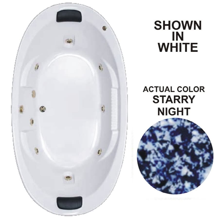 Watertech Whirlpool Baths Designer 2-Person Starry Night Acrylic Oval Whirlpool Tub (Common: 46-in x 84-in; Actual: 21.375-in x 45.75-in x 83.625-in)