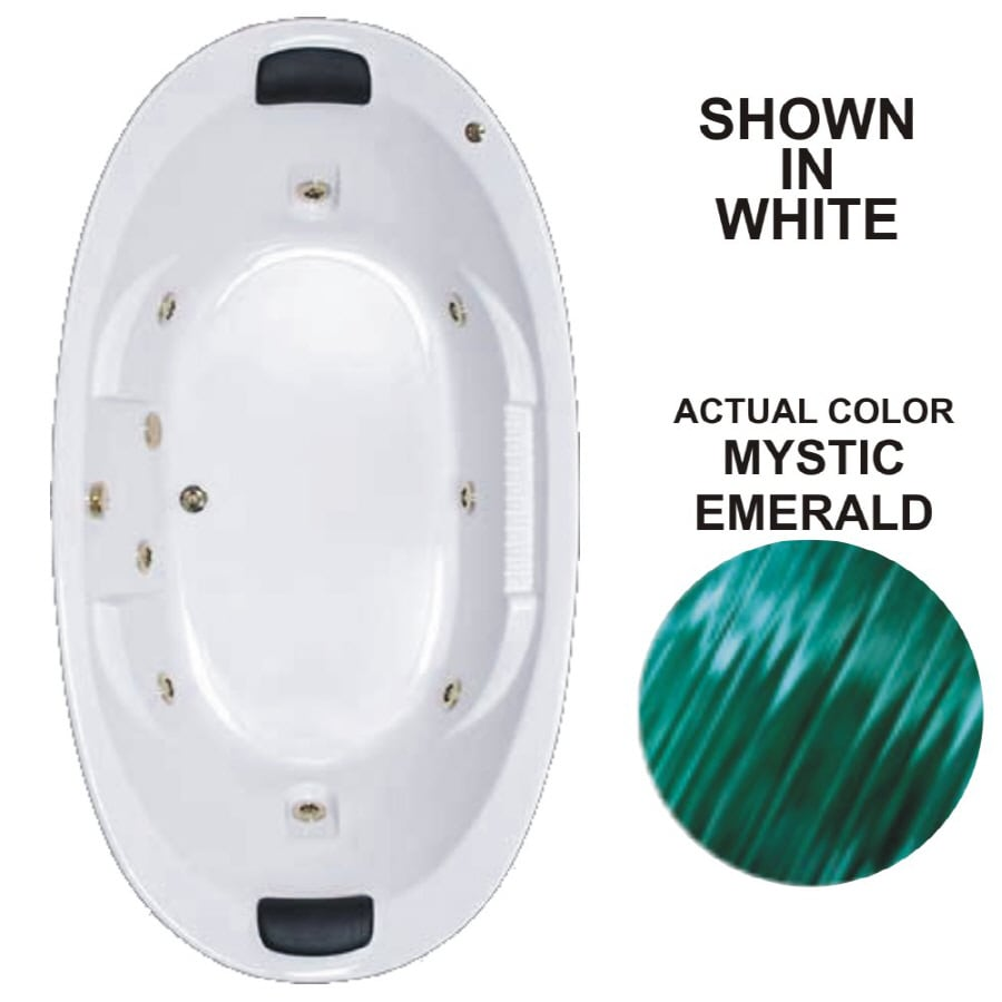 Watertech Whirlpool Baths Designer 83.625-in Mystic Emerald Acrylic Drop-In Whirlpool Tub with Reversible Drain