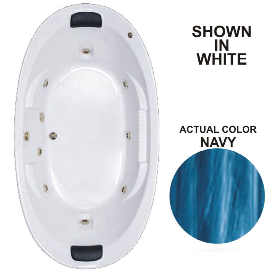 Watertech Whirlpool Baths Designer 2-Person Navy Acrylic Oval Whirlpool Tub (Common: 46-in x 84-in; Actual: 21.375-in x 45.75-in x 83.625-in)