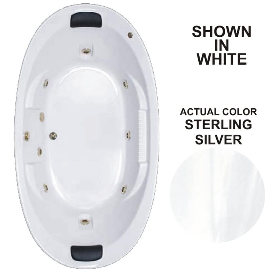 Watertech Whirlpool Baths Designer 83.625-in Sterling Silver Acrylic Drop-In Whirlpool Tub with Reversible Drain