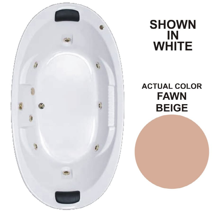 Watertech Whirlpool Baths Designer 2-Person Fawn Beige Acrylic Oval Whirlpool Tub (Common: 46-in x 84-in; Actual: 21.375-in x 45.75-in x 83.625-in)