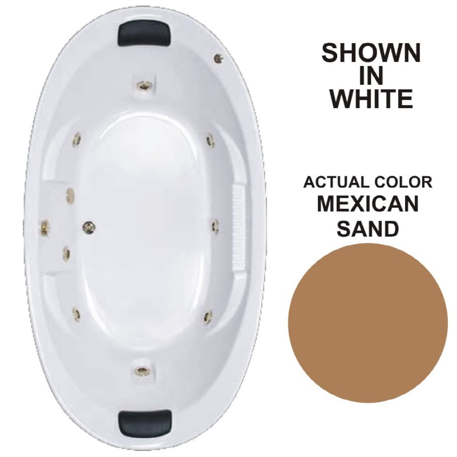 Watertech Whirlpool Baths Designer 83.625-in Mexican Sand Acrylic Drop-In Whirlpool Tub with Reversible Drain