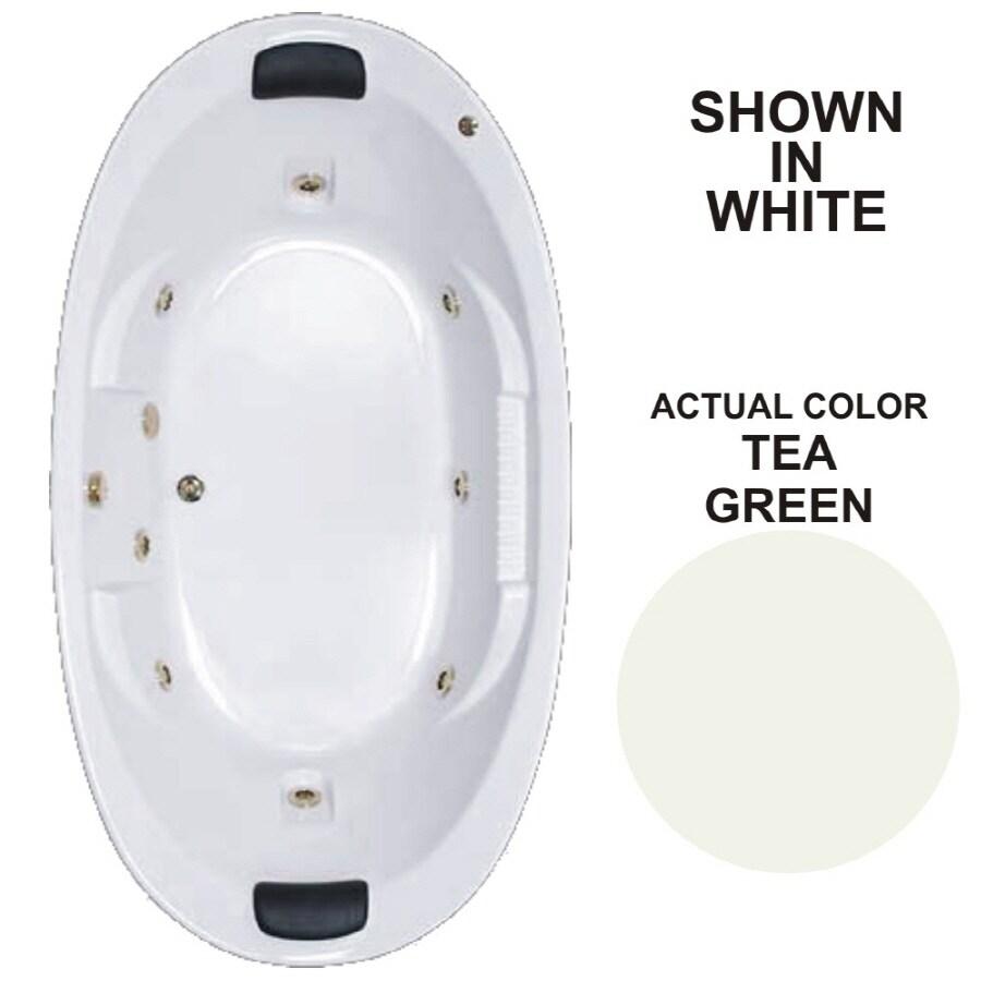 Watertech Whirlpool Baths Designer 83.625-in Tea Green Acrylic Drop-In Whirlpool Tub with Reversible Drain