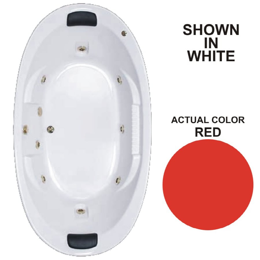Watertech Whirlpool Baths Designer 2-Person Red Acrylic Oval Whirlpool Tub (Common: 46-in x 84-in; Actual: 21.375-in x 45.75-in x 83.625-in)