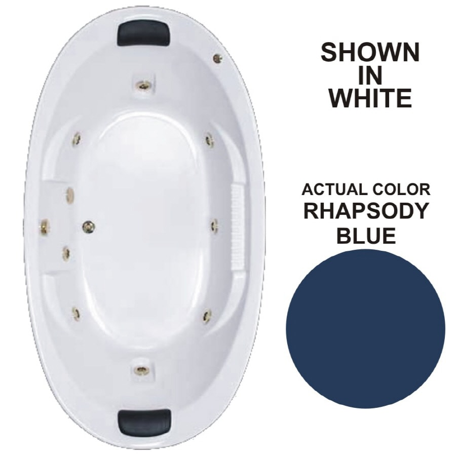 Watertech Whirlpool Baths Designer 2-Person Rhapsody Blue Acrylic Oval Whirlpool Tub (Common: 46-in x 84-in; Actual: 21.375-in x 45.75-in x 83.625-in)
