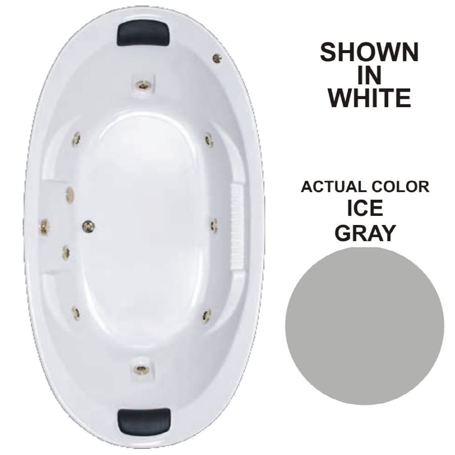 Watertech Whirlpool Baths Designer 2-Person Ice Gray Acrylic Oval Whirlpool Tub (Common: 46-in x 84-in; Actual: 21.375-in x 45.75-in x 83.625-in)