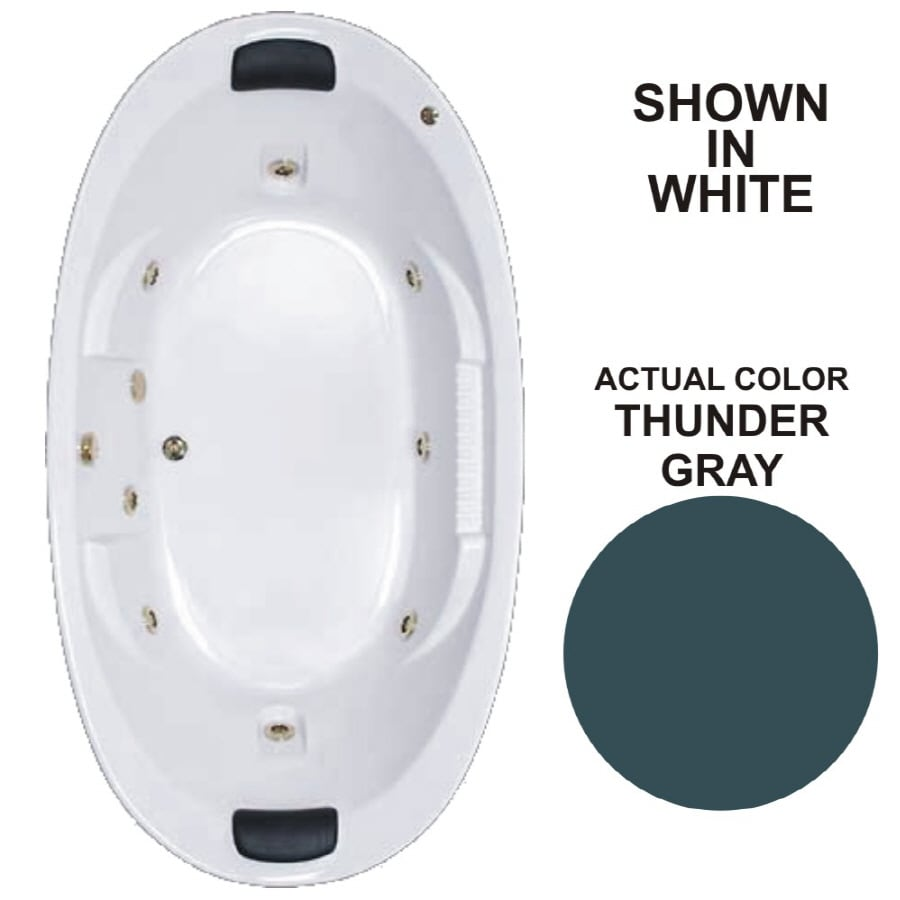 Watertech Whirlpool Baths Designer 83.625-in Thunder Gray Acrylic Drop-In Whirlpool Tub with Reversible Drain