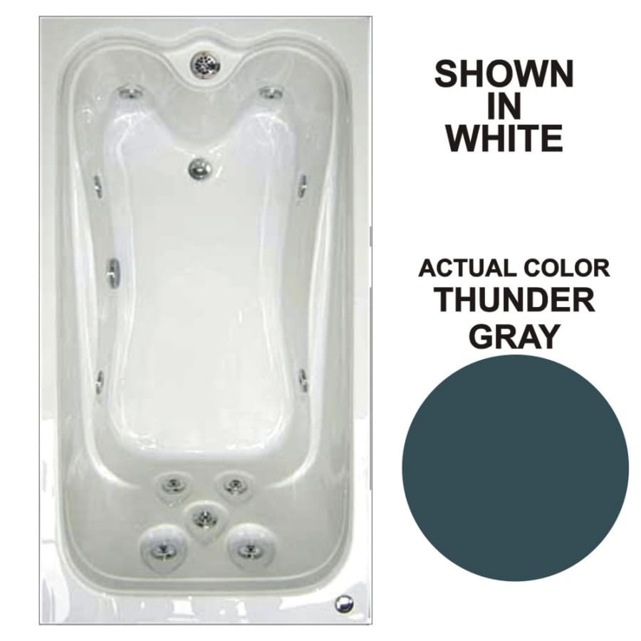 Watertech Whirlpool Baths Elite Thunder Grey Acrylic Rectangular Whirlpool Tub (Common: 42-in x 60-in; Actual: 21.88-in x 41.5-in x 59.75-in)