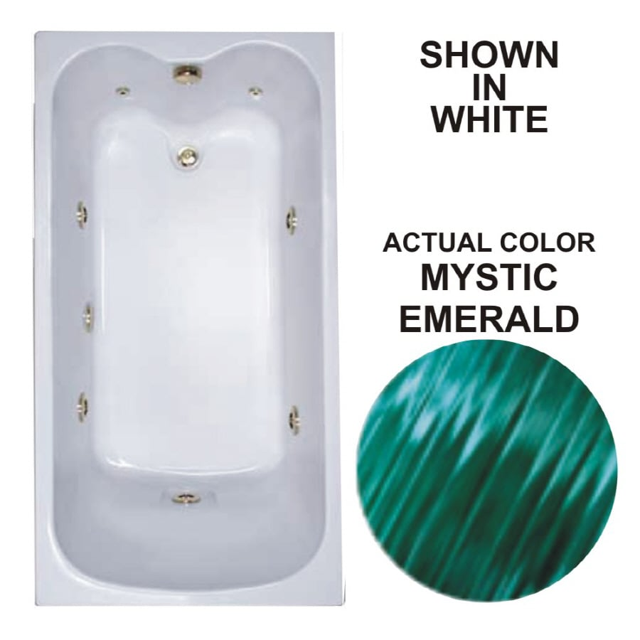 Watertech Whirlpool Baths Warertech Mystic Emerald Acrylic Rectangular Whirlpool Tub (Common: 32-in x 60-in; Actual: 22.5-in x 31.75-in x 59.75-in)