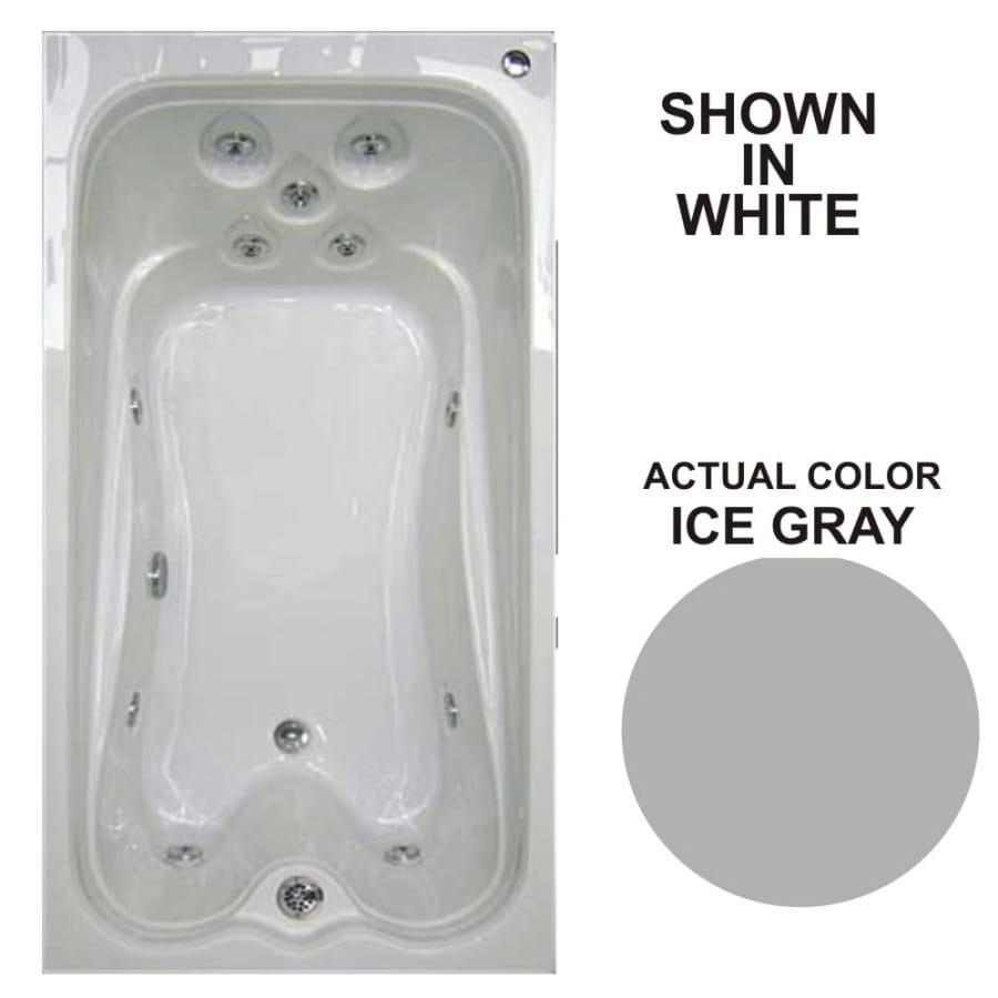 Watertech Whirlpool Baths Warertech Ice Gray Acrylic Rectangular Whirlpool Tub (Common: 36-in x 72-in; Actual: 21.5-in x 36-in x 72-in)