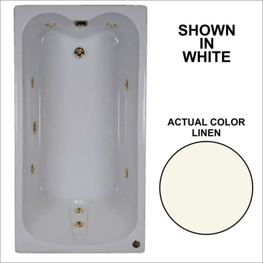 Watertech Whirlpool Baths 59.75-in Linen Acrylic Drop-In Whirlpool Tub with Reversible Drain