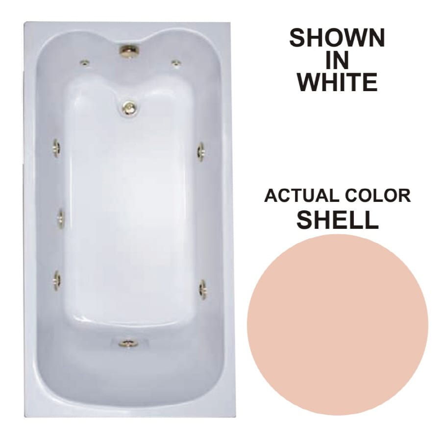 Watertech Whirlpool Baths Warertech 59.75-in Shell Acrylic Drop-In Whirlpool Tub with Reversible Drain