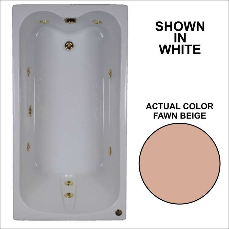 Watertech Whirlpool Baths Fawn Beige Acrylic Rectangular Whirlpool Tub (Common: 32-in x 60-in; Actual: 22.5-in x 31.75-in x 59.75-in)