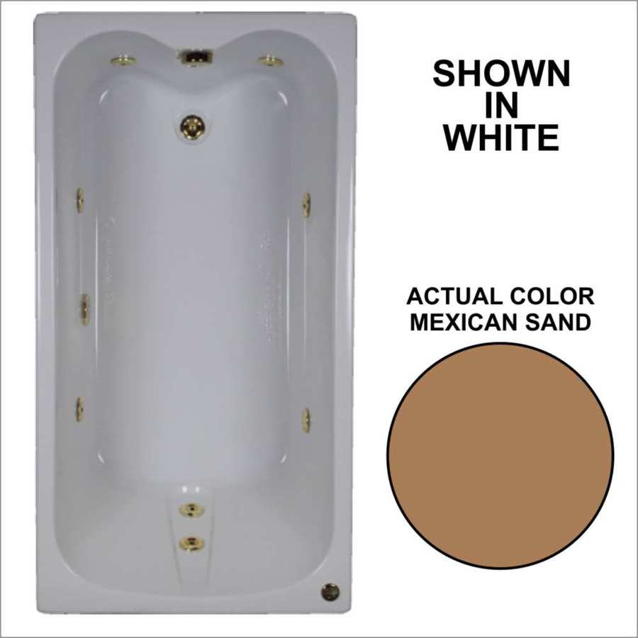 Watertech Whirlpool Baths Mexican Sand Acrylic Rectangular Whirlpool Tub (Common: 32-in x 60-in; Actual: 22.5-in x 31.75-in x 59.75-in)